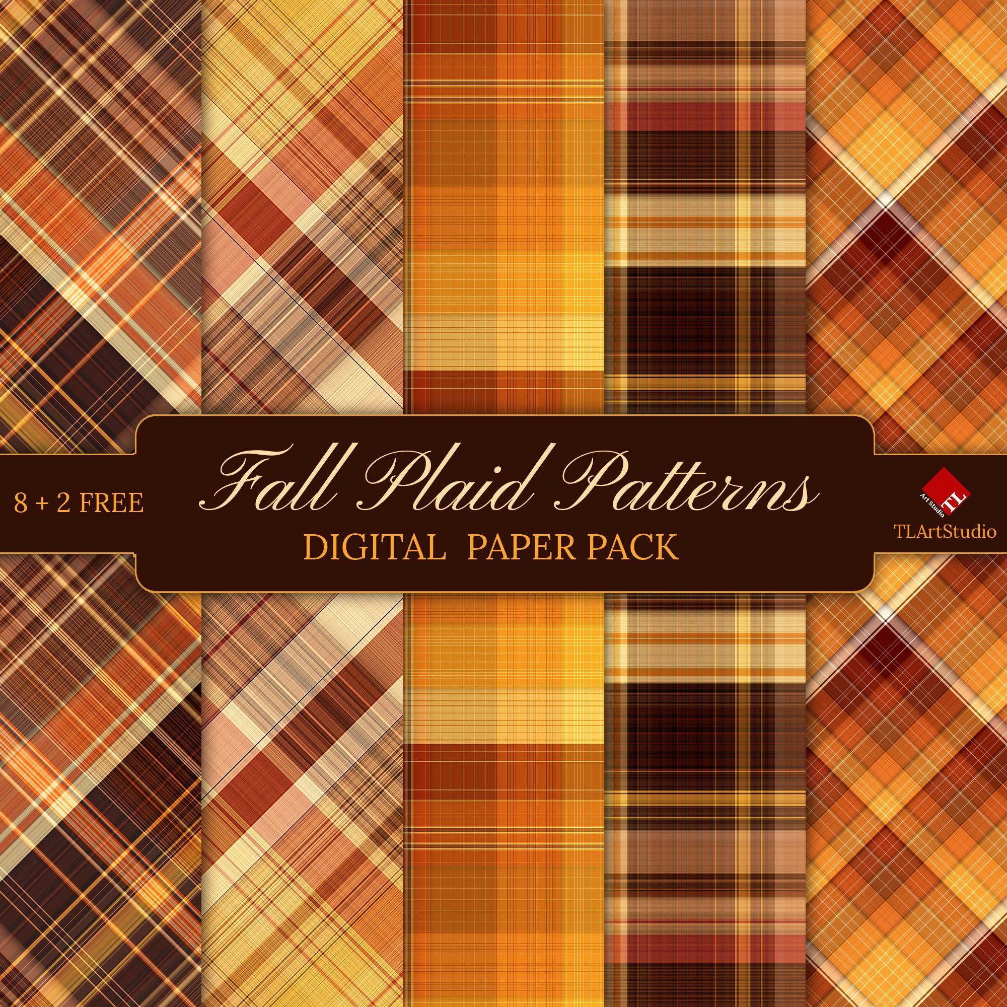 Fall Plaid Patterns Digital Paper Pack 1 Autumn Orange Etsy Digital Paper Scrapbook Background Digital Scrapbook Paper