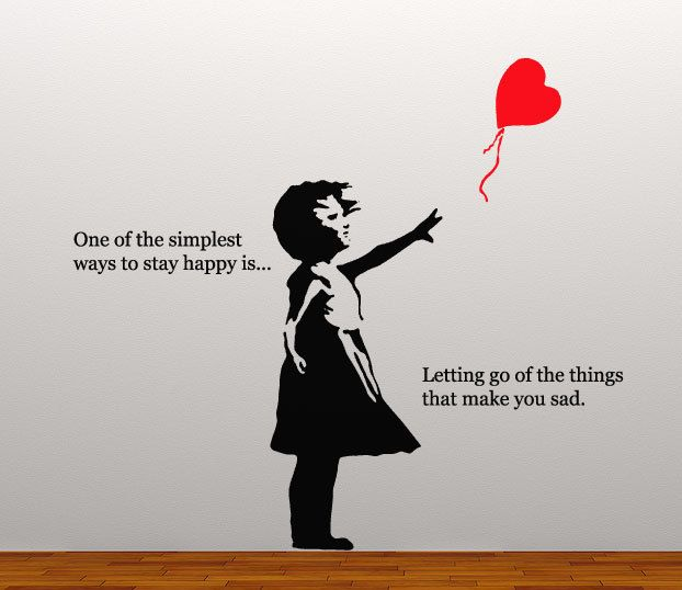 Banksy heart floating balloon girl 2 colour happy inspirational quote wall decal grafitti artist sticker