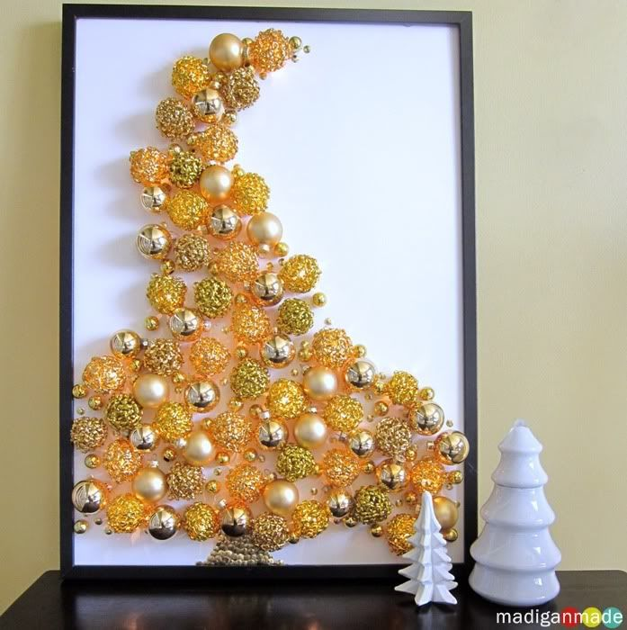 make a lighted ornament tree on canvas DIY