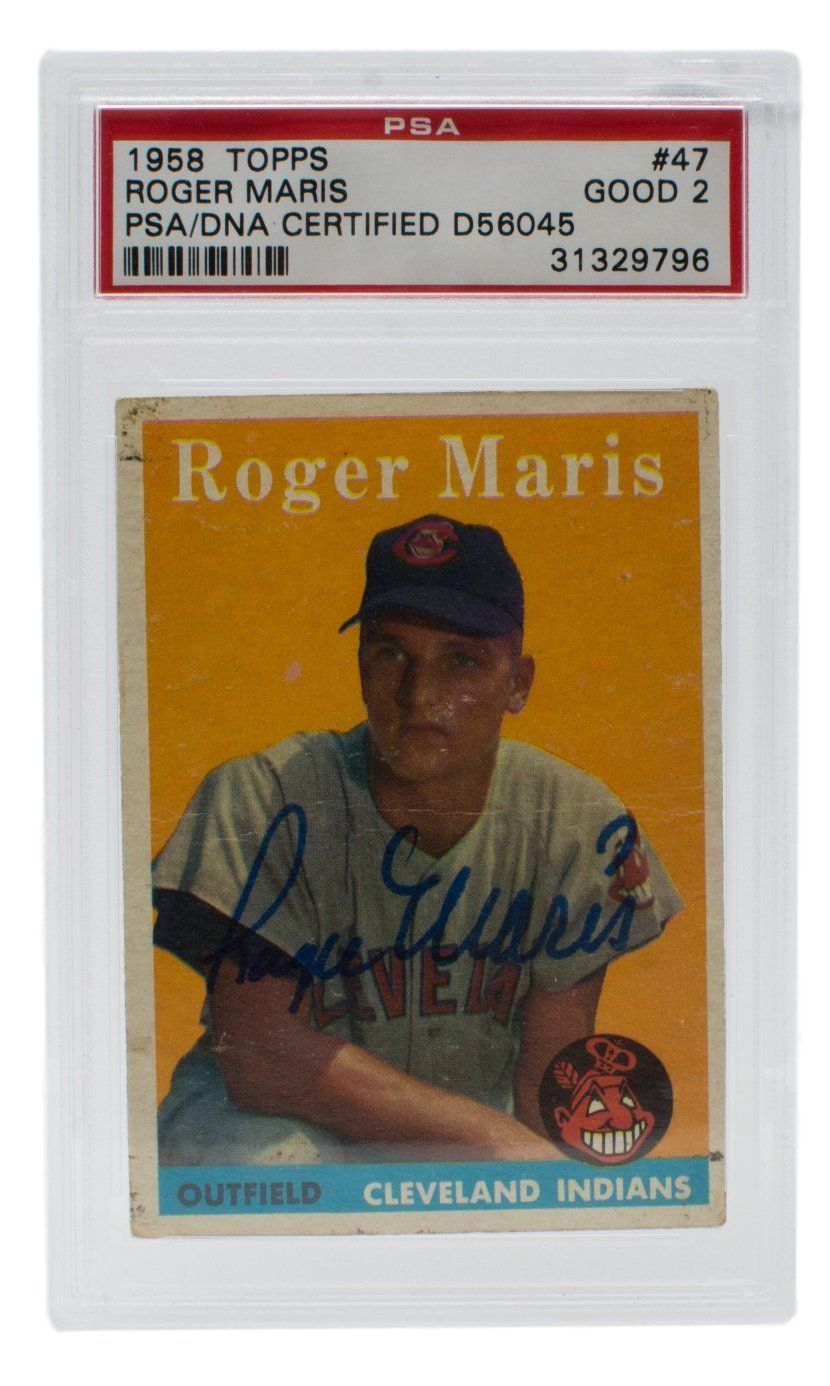 Roger Maris Signed 1958 47 Topps Indians Rookie Baseball