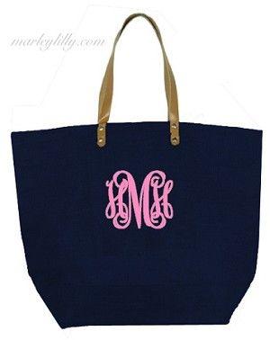 Monogrammed Navy Large Jute Bag. MUST HAVE!!