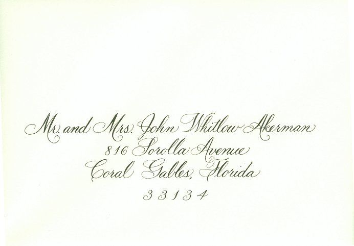 Invitation Addressing In Hand Calligraphy Calligraphy