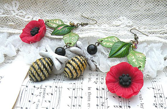 red poppy earrings assemblage crazy bumblebee honey bee summer