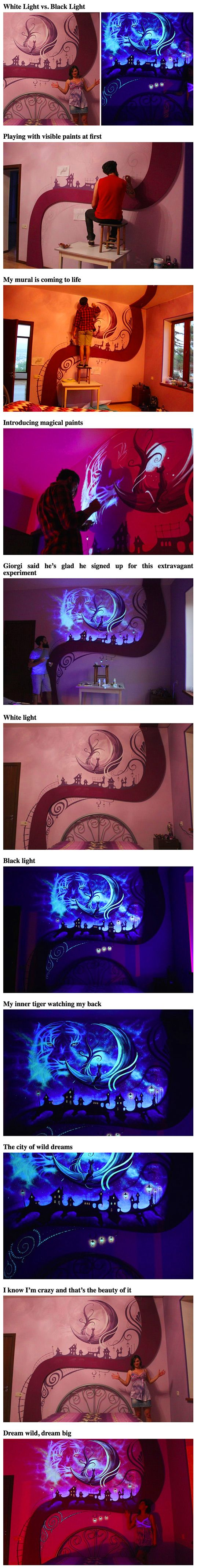 When the lights go out, this bedroom becomes a fairytale