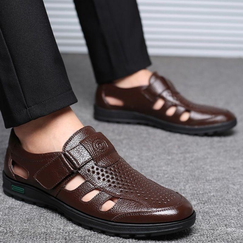 Summer Leather Hollow Men Sandals