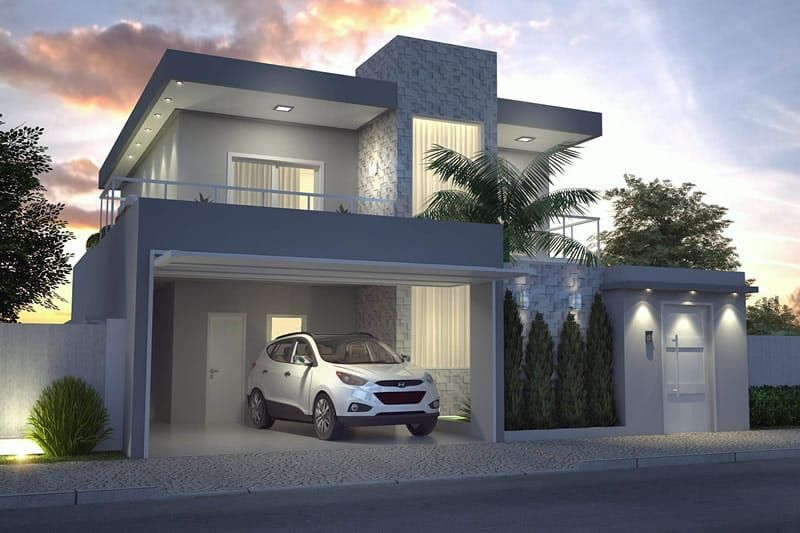 Planta de casa moderna con 3 dormitorios fachadas for Fachadas de casas modernas 3 cuartos