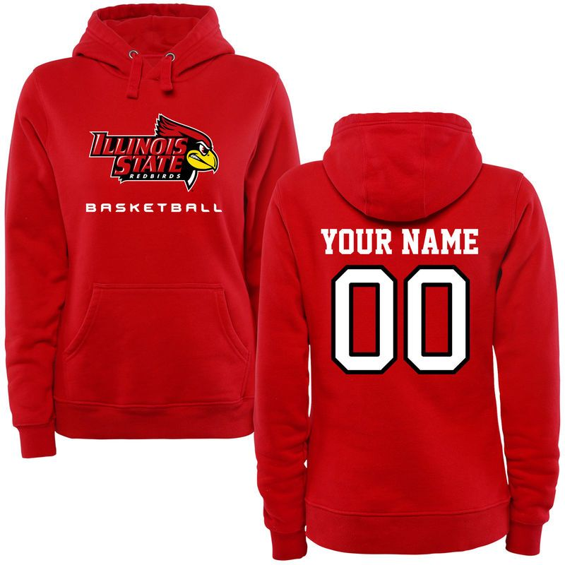 Illinois State Redbirds Women's Personalized Basketball Pullover Hoodie - Red