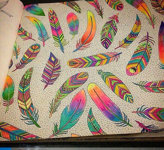 Jardim Secreto Feather PatternJohanna BasfordColoring BooksColored
