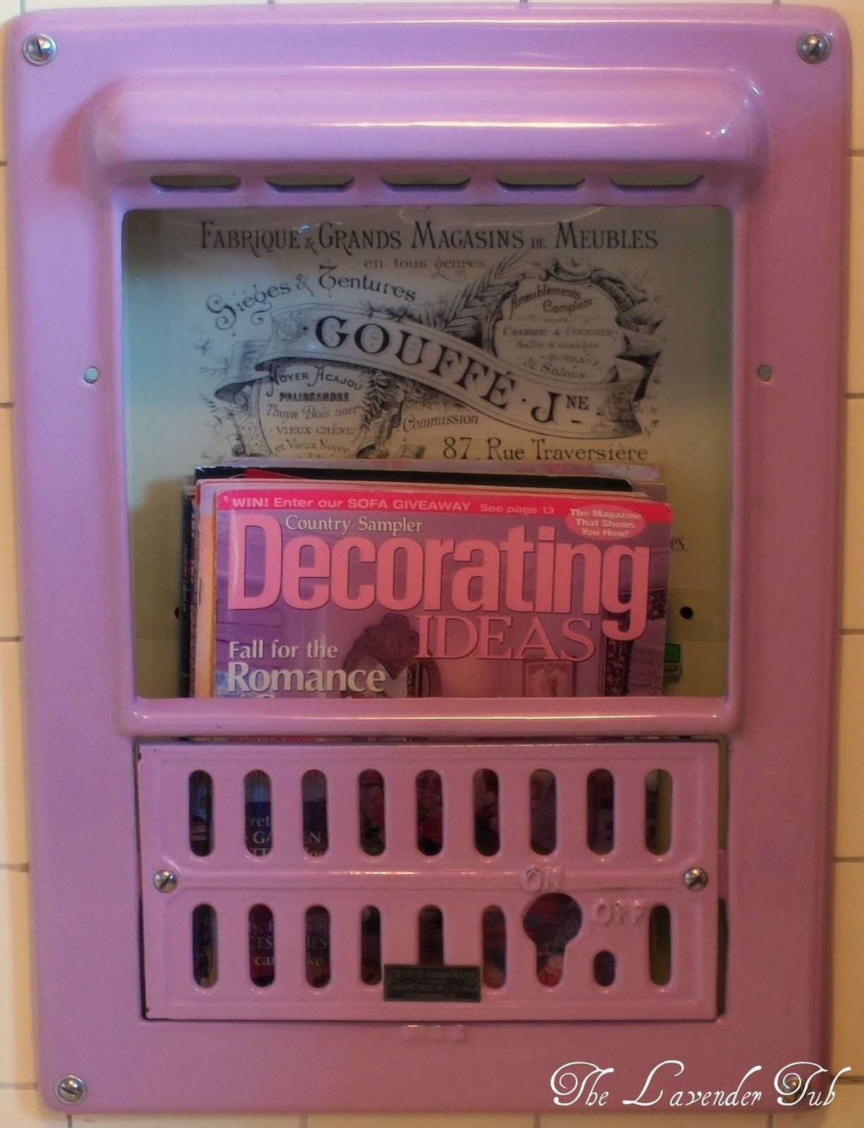 Bathroom gas heater - Neat Idea To Keep The Look Of Your Old Gas Bathroom Heater Cap The Line And Use The Case For Decoration From The Lavender Tub Wall Heater Junk To Jewels