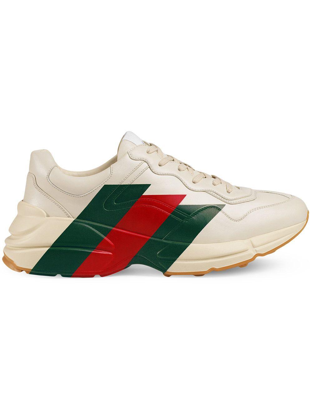 945dc2e6f50 Gucci Rhyton Web print leather sneaker