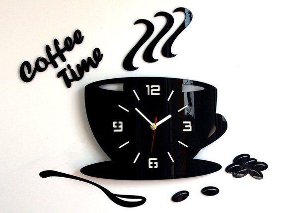 Large Wall Clock Modern Clock Wall Clock Kitchen Clock Etsy Cantinho Do Cafe Apartamento Decoracao Da Casa Artesanal Arte Relogio