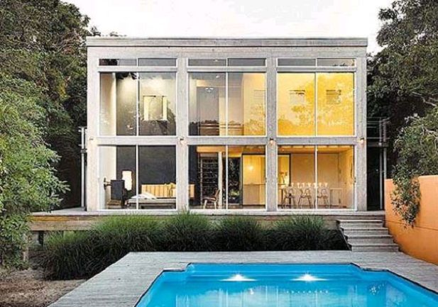 Two story shipping container home with pool future house for Shipping container pool house