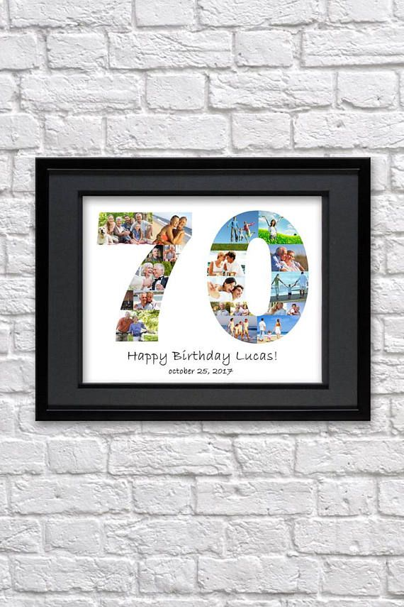 Digital File 70 Anniversary Gifts Number Photo Collage Seventy