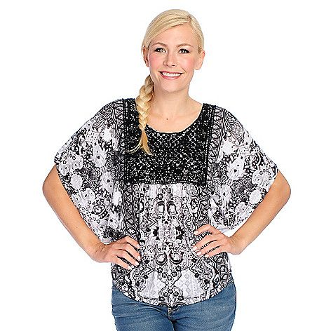 723-092- One World Printed Knit Poncho Sleeve Lace Applique Embellished Top
