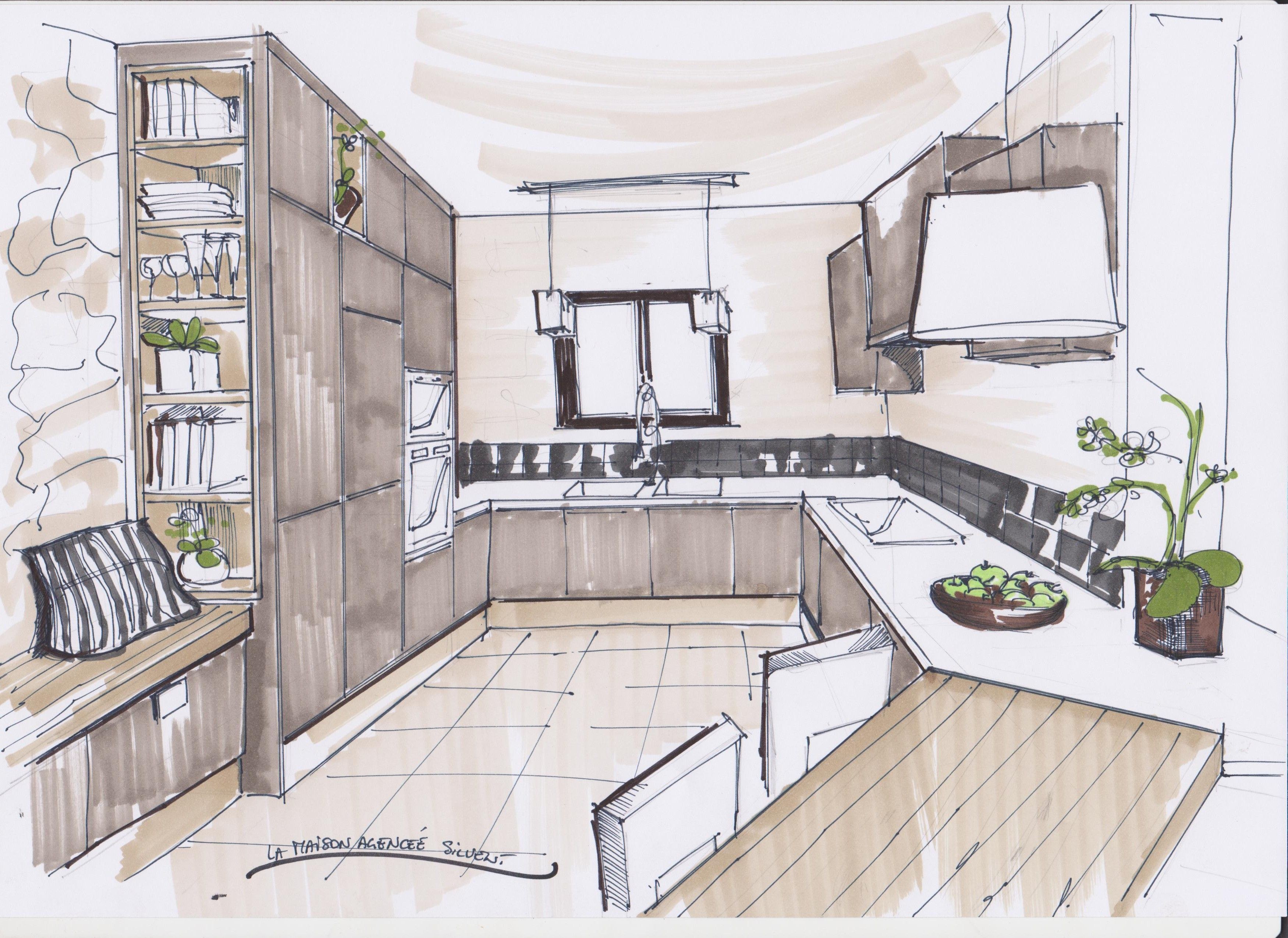 Croquis Cuisine Architecte Interieur Maison Dessin Dessin Architecture