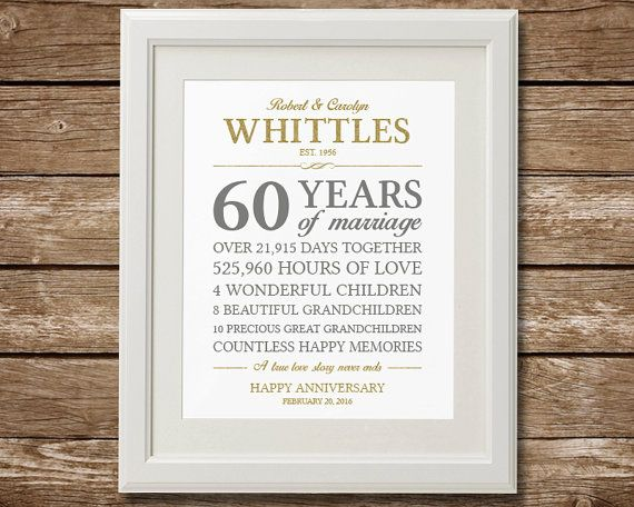60th Wedding Anniversary Gifts For Parents: 60th Anniversary Gift, Diamond Anniversary, Anniversary