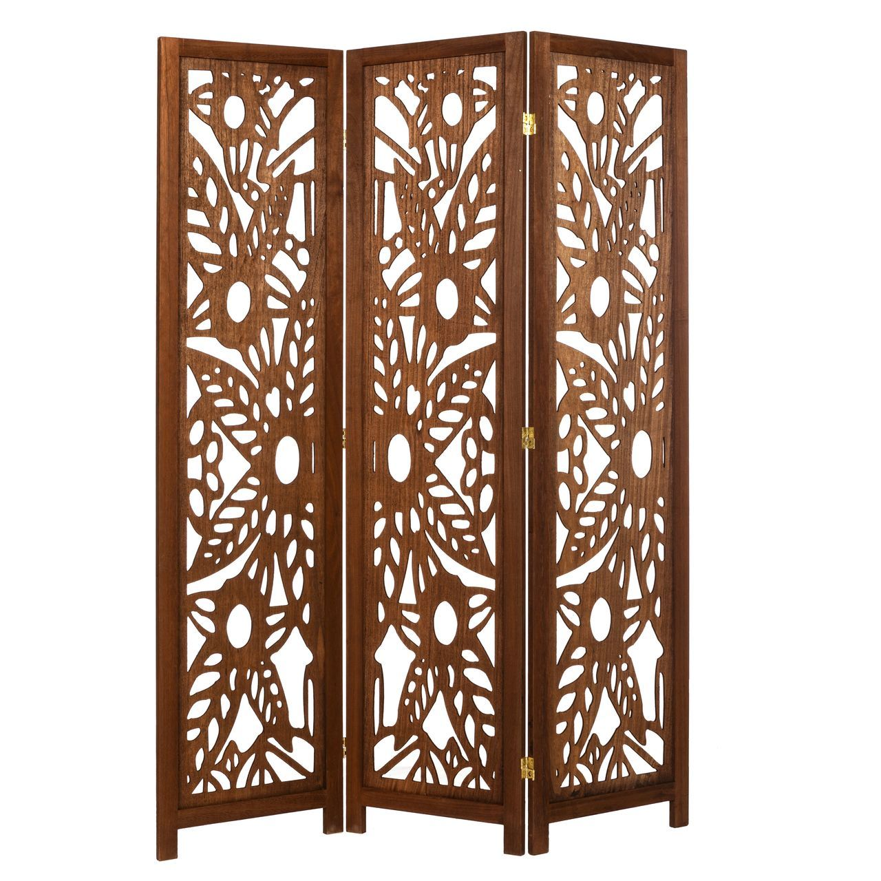 3 Panel Solid Wood Screen Room Divider Walnut Brown Color With Decorative Floral Cutouts By Legacy Decor Room Divider Panel Room Divider Shoji Room Divider
