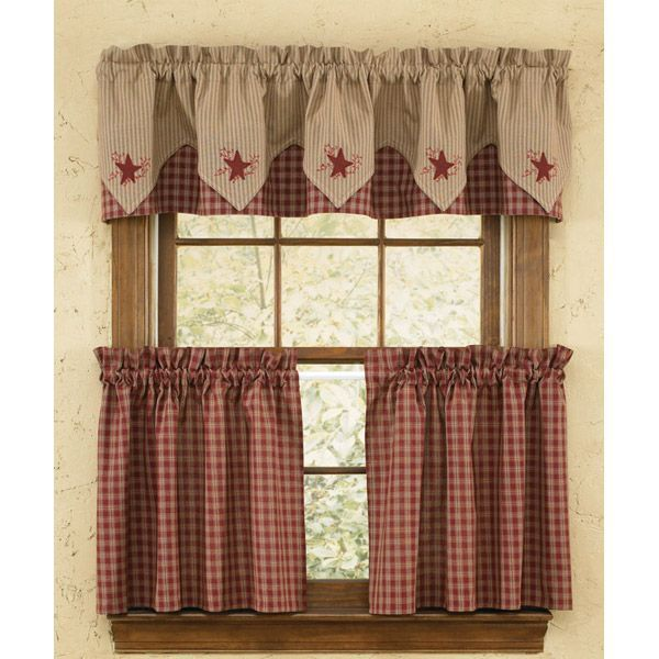 Country Curtains Checkered Valance And Tiers Country Kitchen Curtains Home Curtains