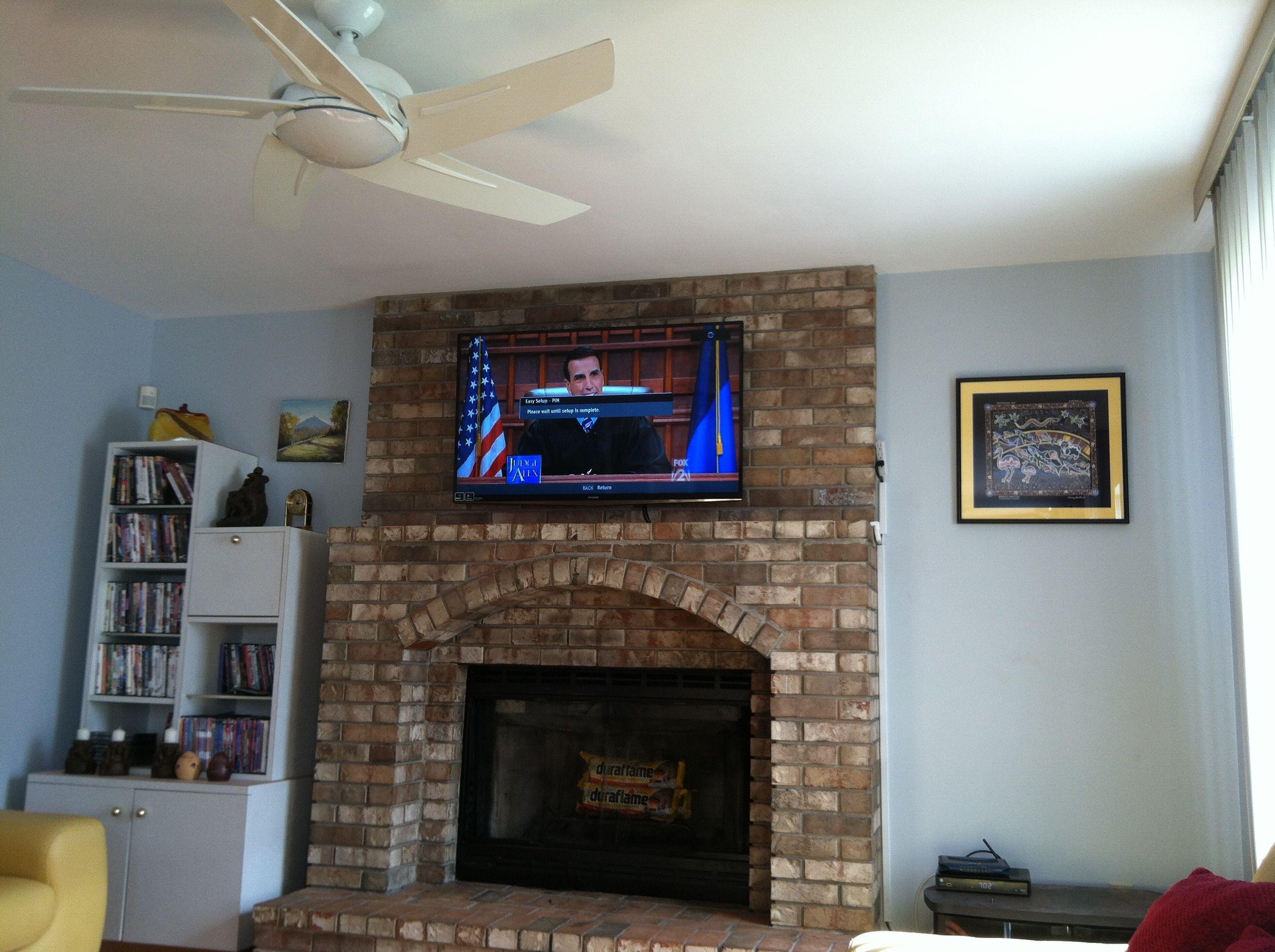 Vesta Fireplace Tv Installation Tv Over Fireplace Brick Fireplace Brick Fireplace Wall Fireplace