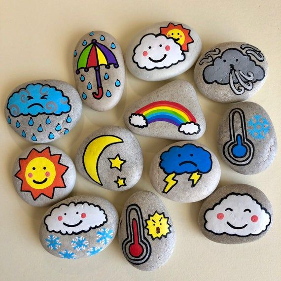 Weather Story Stones, Teach weather to children, For preschoolers, Home school early years learning, Educational gift