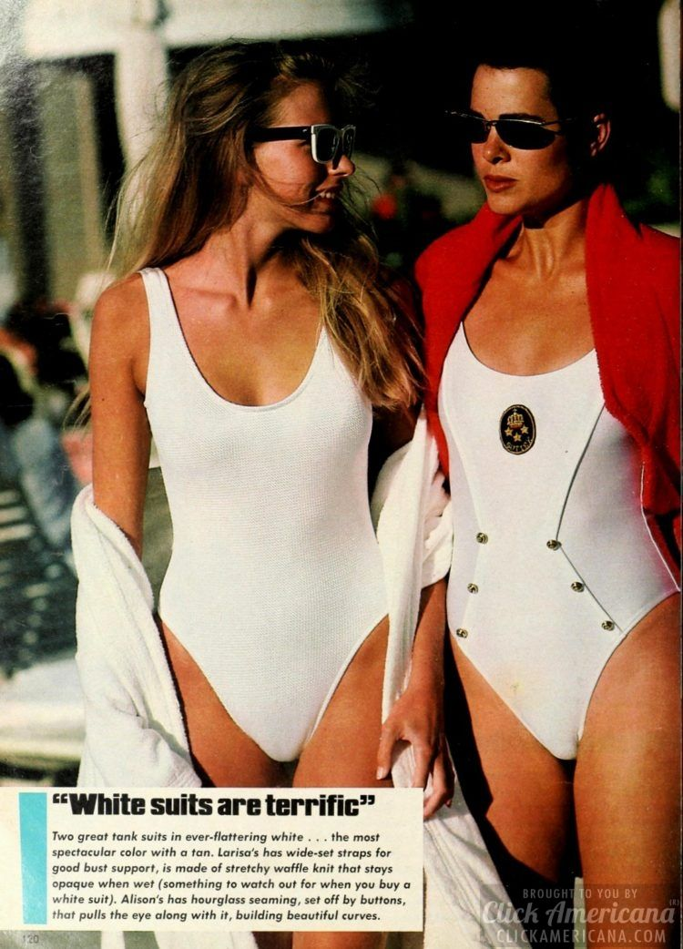 104960b0fa 18 stylish '80s swimsuits: Shapely, slimming, sexy summer swimwear from  1986 at ClickAmericana.com - #swimwear #swimsuits #vintagefashion #80s  #80sfashion ...