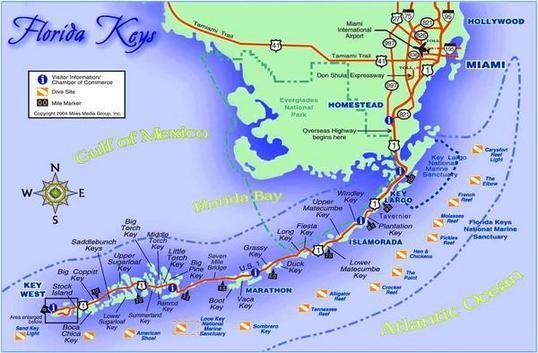 Mapa De La Carretera De Los Cayos De Florida Estados Unidos - Mapa florida usa