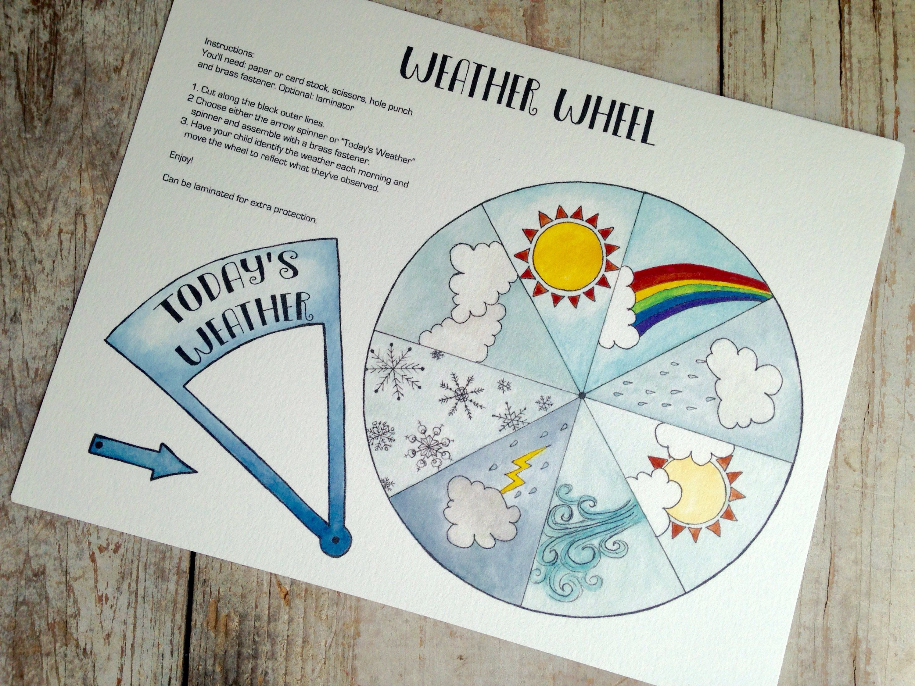 Today S Weather Wheel Digital Download Kids Printable