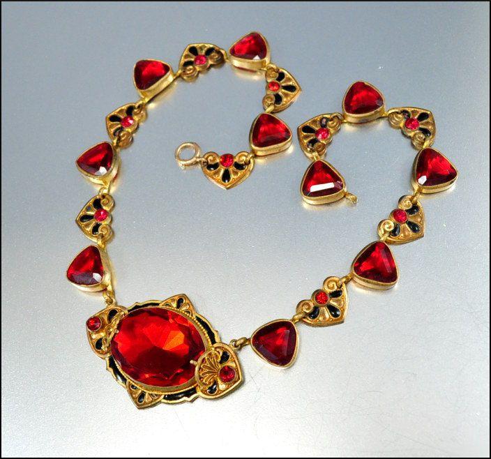 RESERVED Glass Heart Enamel Czech Art Deco Necklace Art Deco Jewelry
