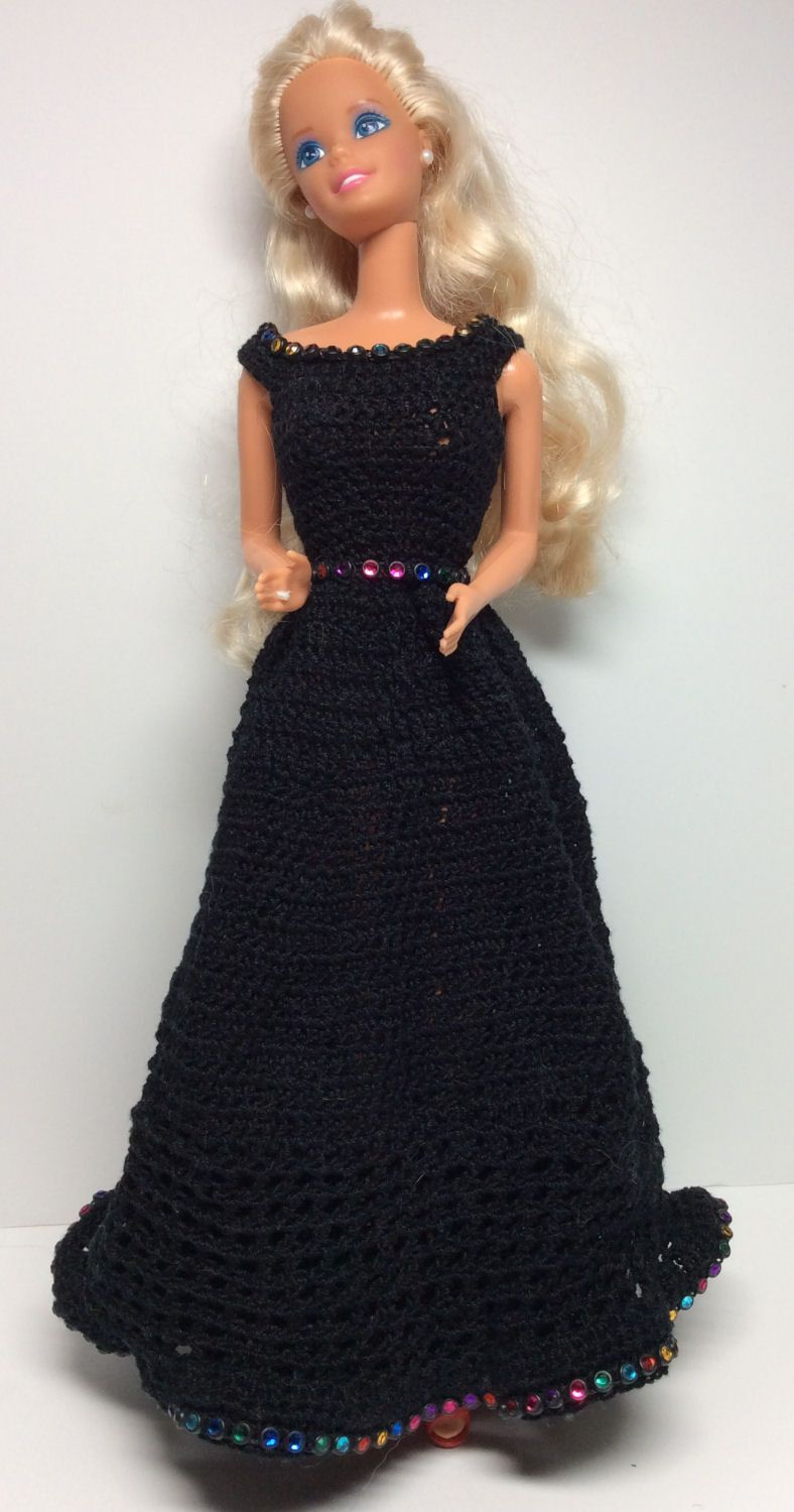 Mardi Gras Gown - Black with Jeweled Accents   BARBIE GOWN ...