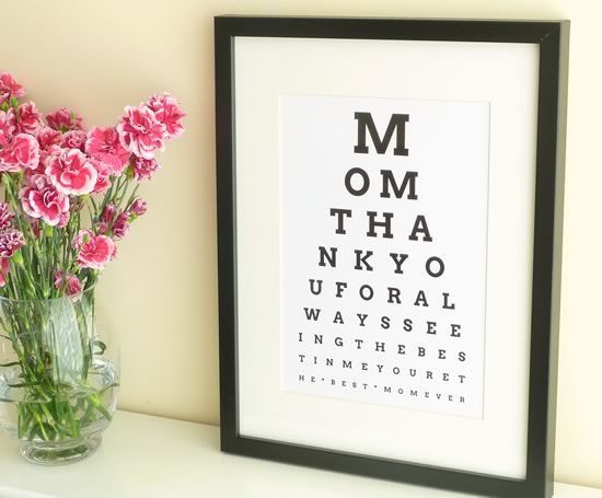 DIY Personalized Eye Chart Mothers Day Gift - Tutorial from http://Homemade-