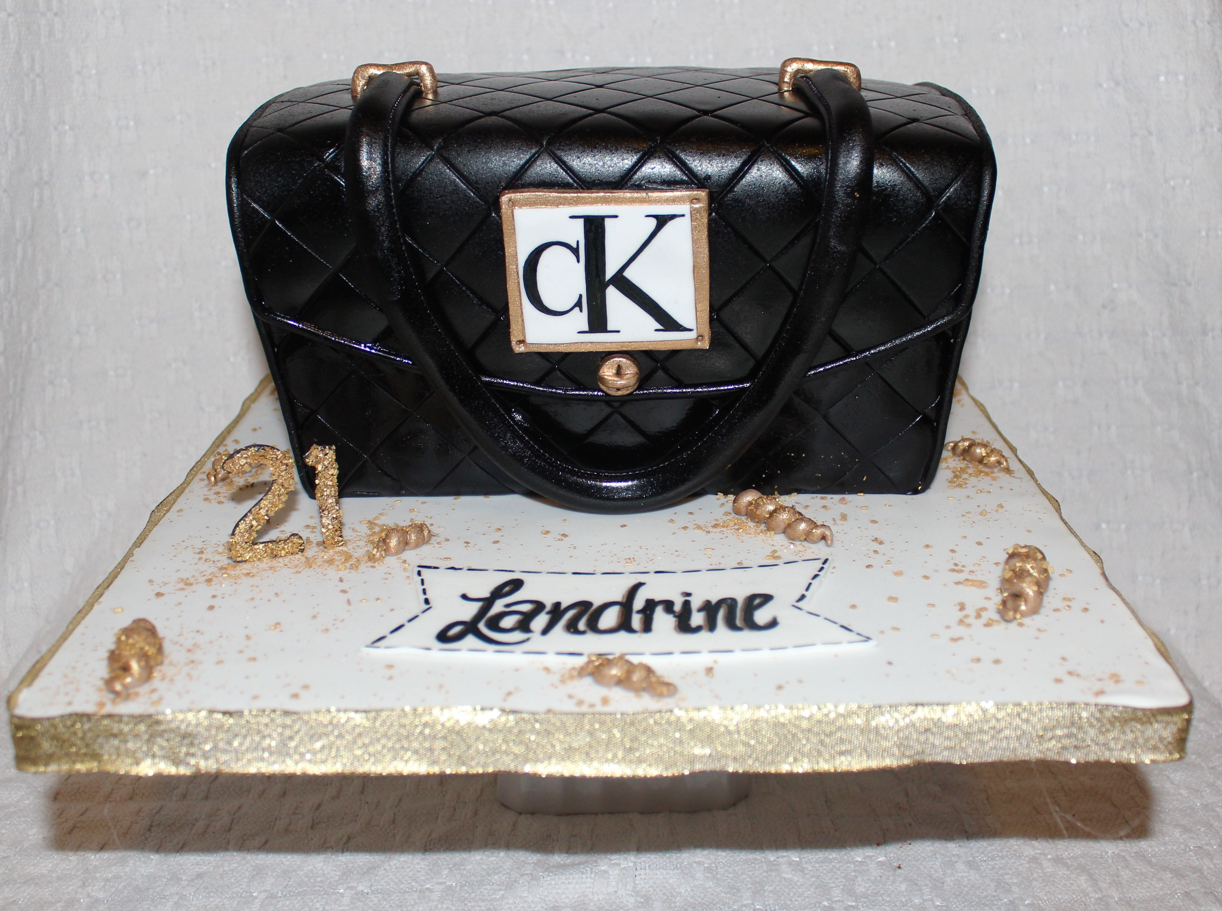 f6259370dc77 Calvin Klein black purse cake bag | Makeup in 2019 | Birthday cakes ...