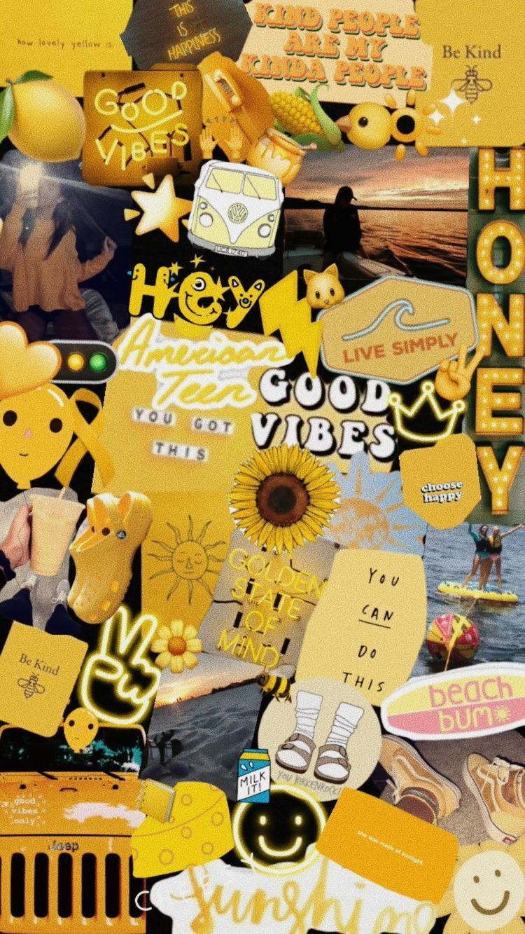 Pin On Simspiration Aesthetic wallpaper collage yellow
