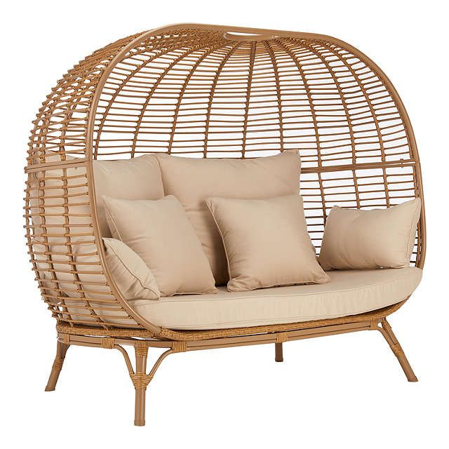 John Lewis & Partners Cabana 2 Seater Garden Sofa Pod, Natural is part of garden Seating Pod - Find comfort in the home or in the garden with the Cabana double sofa pod   Striking pod design Wicker effect frame Comes with 1 seat cushion, 2 back cushions, 2 side pillows and 2 scatter cushions Floor Clearance 33cm  A woven lounging range with wicker effect frames, Cabana features a double sofa, a 'statement' pod and a hanging pod which are all suitable for outdoor use