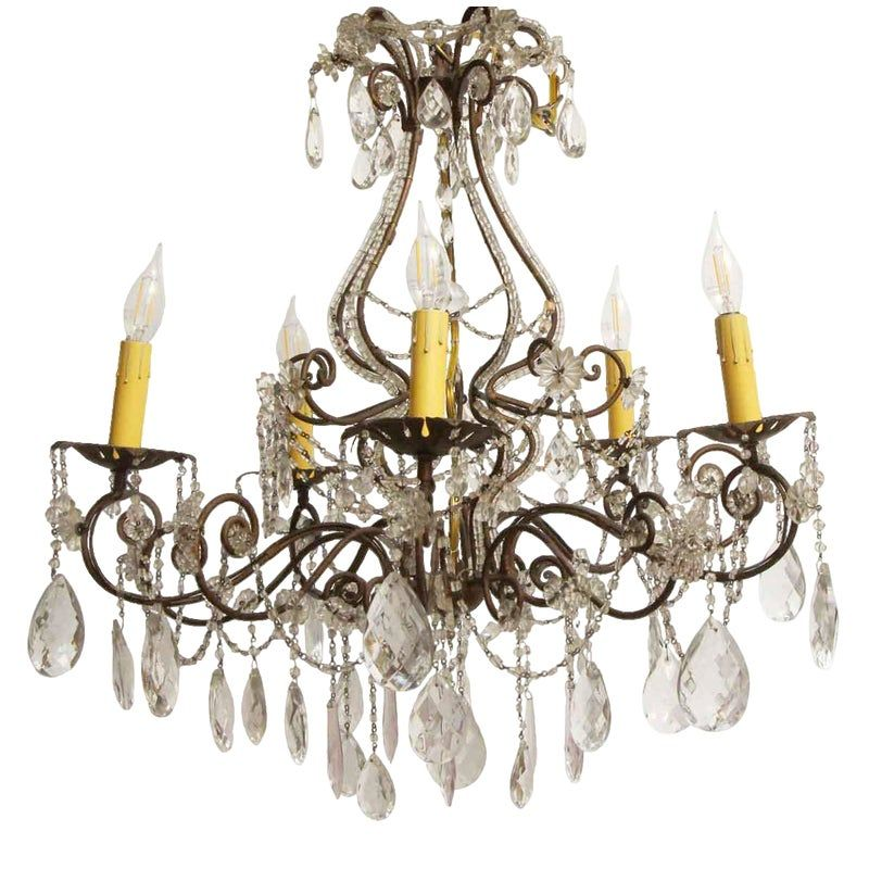 Wrought Iron Crystal Five Arm Chandelier In 2020 Chandelier