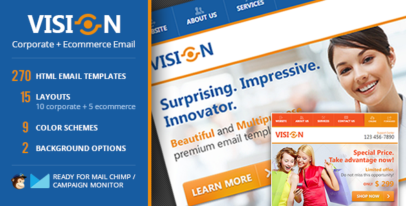 Vision Corporate Ecommerce Email Template Template And Campaign - Best ecommerce email templates