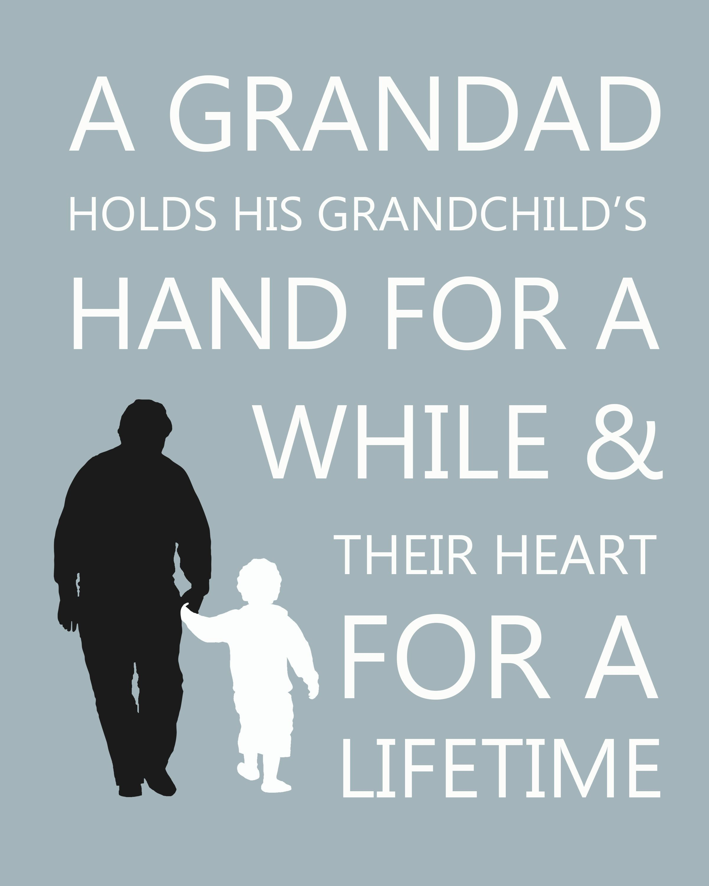 Grandfather Quotes Gifts for him. Personalised Grandfather and Grandson silhouette  Grandfather Quotes