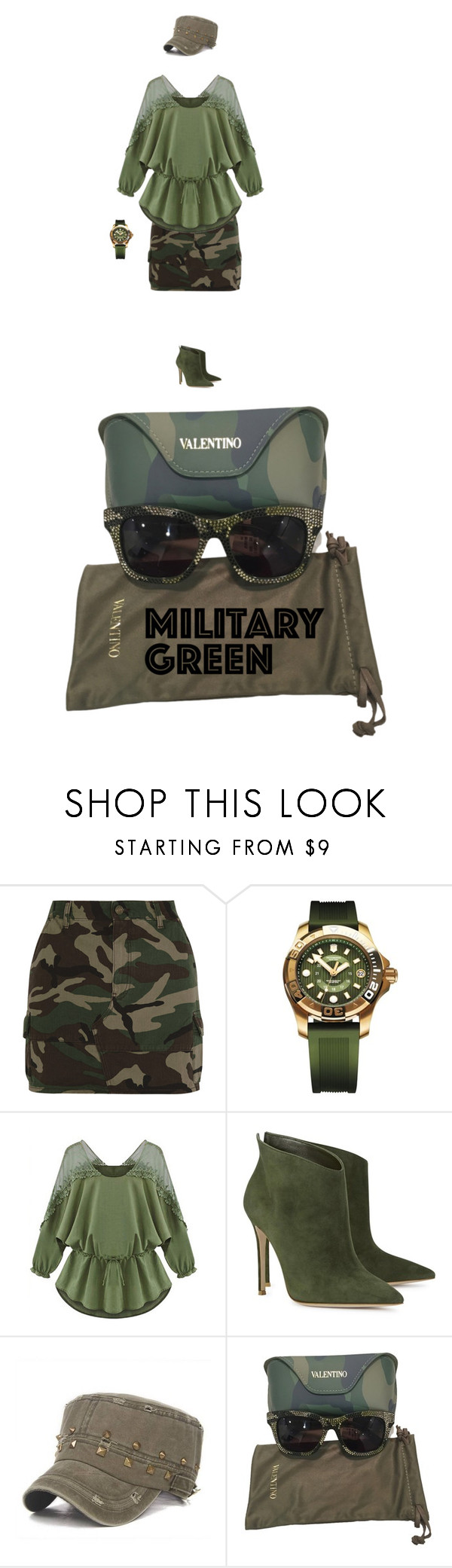 """""""Army Green"""" by ilona-828 ❤ liked on Polyvore featuring Yves Saint Laurent, Victorinox Swiss Army, WithChic, Gianvito Rossi, Valentino and Gogreen"""
