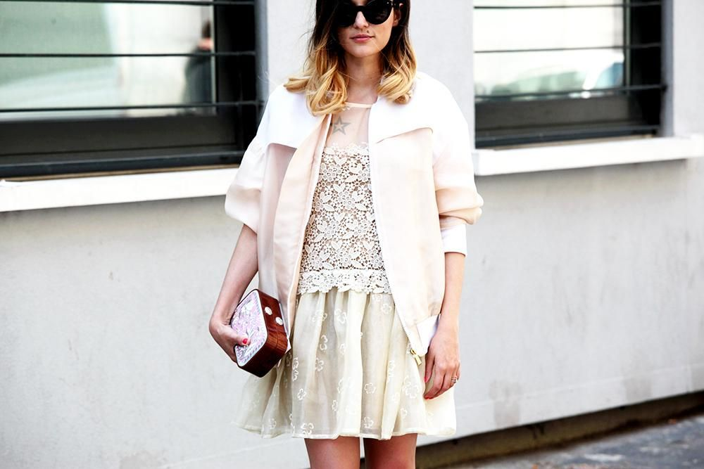 wearing #redValentino dress and #JustCavalli bomber #streetstyle