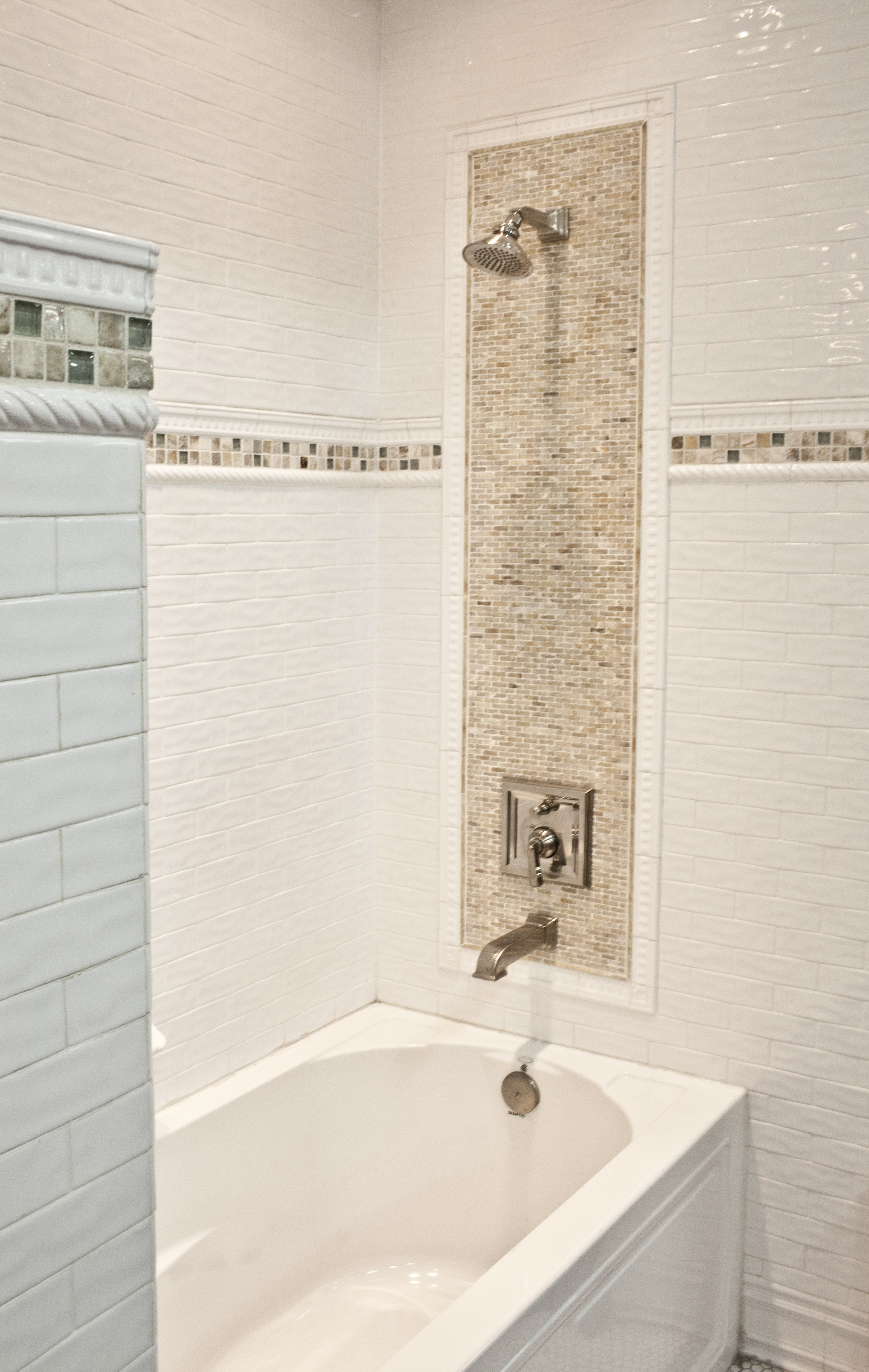Ceramic Subway Tile with Onyx Mosaic | Bathroom ...