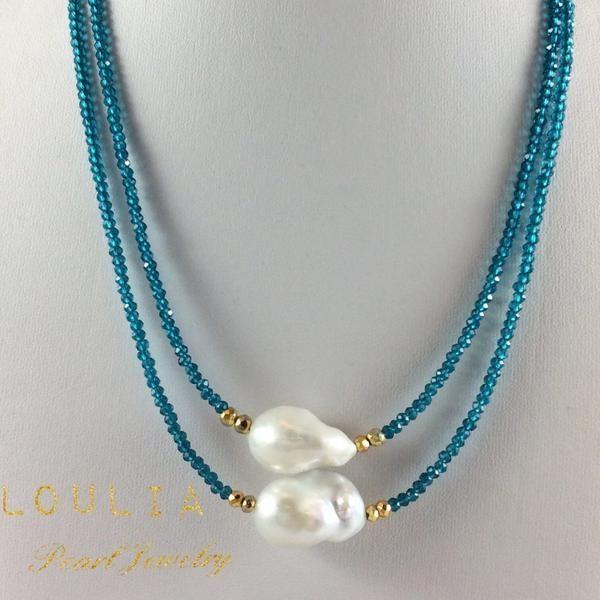 Photo of Princess Necklace London Blue Quartz & Baroque Pearl