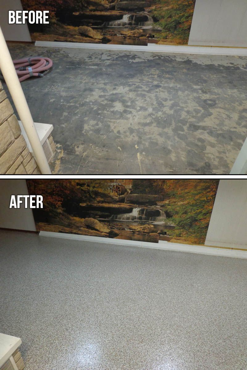 Epoxy Chip Basement Floor The Protector Flakes System Makes Concrete Flooring As Beautiful As It Is Prac Basement Flooring Garage Floor Epoxy Concrete Floors
