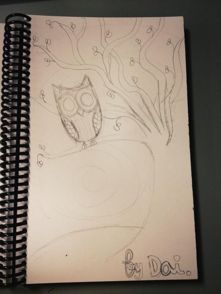 Owl. Boceto. 22/06/2012. Cosas que hago en papel para relajarme