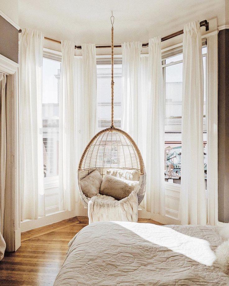 Natural Bedroom Decor: Natural Light Bedroom // Hanging Window Seat