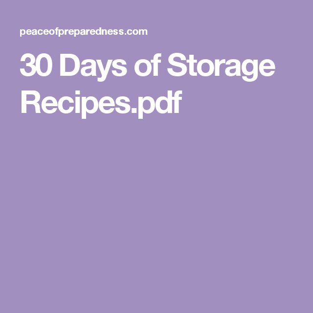 30 days of storage recipespdf food storage recipes pinterest 30 days of storage recipespdf forumfinder