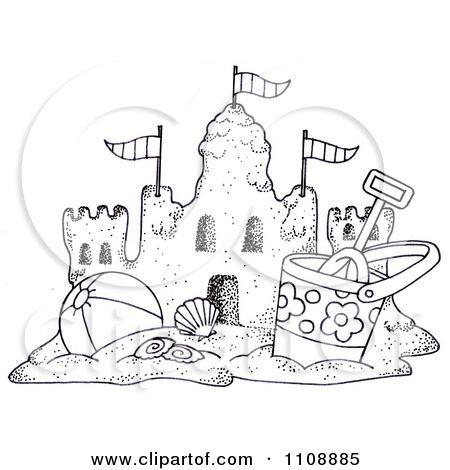 Beach Drawings Art Clipart Black And White Beach Bucket And Ball By A Sand Castle Beach Drawing Sand Castle Castle Drawing