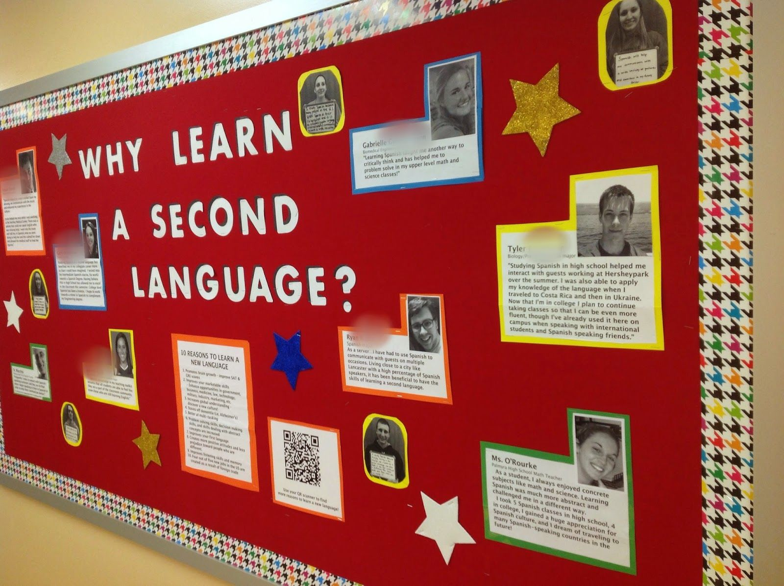Spanish 1 Classroom Decorations : Why learn a second language bulletin board from