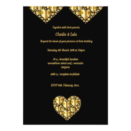Gold hearts wedding invitations black background Heart wedding
