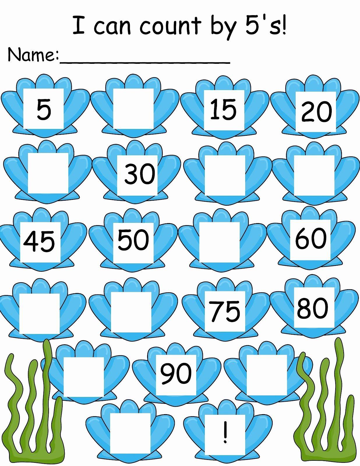 Count By 5s Worksheet For Kindergarten In