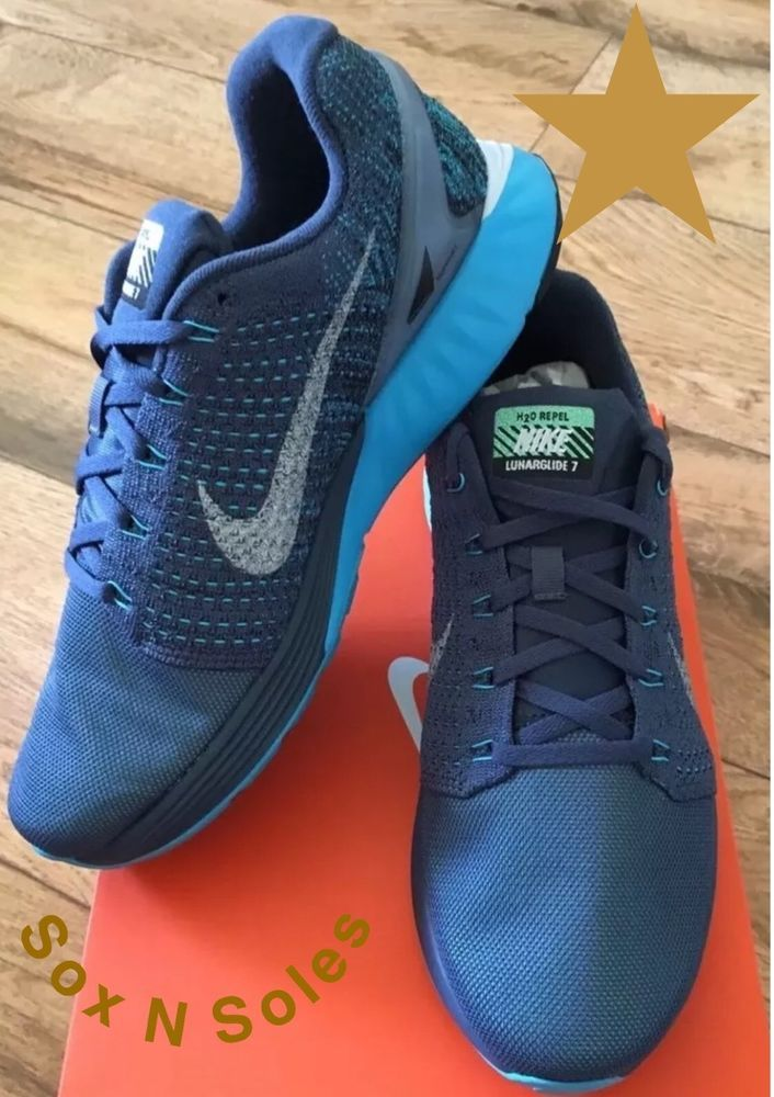 new concept 9495e 1b3be Nike Lunarglide 7 Flash Blue Silver Mens Sz 14 Running Shoes 803566 400    eBay