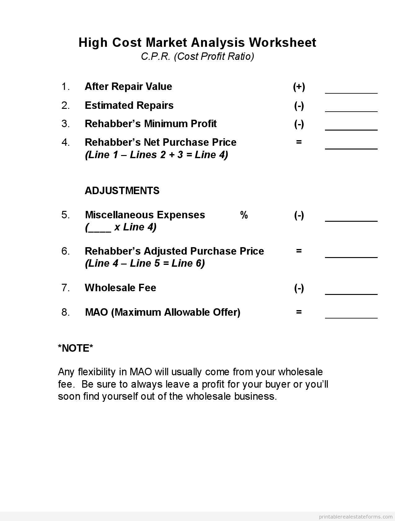 Printable High Cost Marketysis Worksheet Template